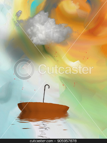 Umbrella stock photo, Surreal painting. Floating umbrella. 3D rendering by Bruce Rolff