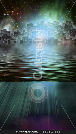 Magical City stock photo, Fantasy City and Underwater Scene by Bruce Rolff