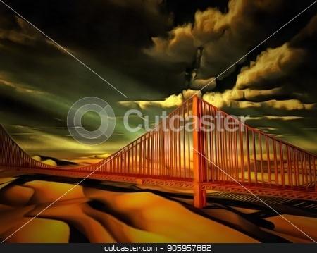 Golden Gate bridge stock photo, Golden Gate bridge in surreal desert by Bruce Rolff
