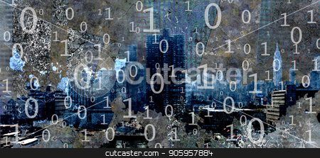 Digital Manhattan stock photo, Modern Abstract of lines and squares by Bruce Rolff