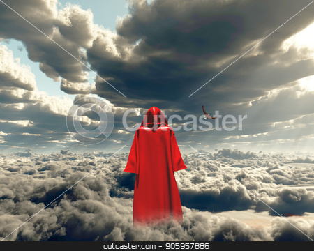 Elevation stock photo, Figure in red cloak stands on a field of clouds. by Bruce Rolff