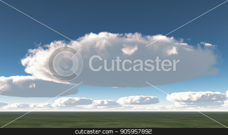 Clouds stock photo, Surreal round clouds above green field by Bruce Rolff