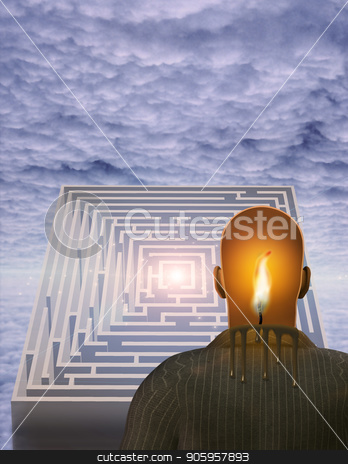 Candle Man stock photo, Surrealism. Melting candle in man's head. Maze. by Bruce Rolff