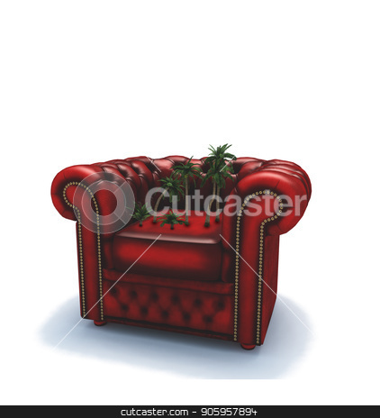 Vacation. Armchair stock photo, Surrealism. 3D render. Red armchair with palm trees. by Bruce Rolff