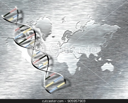 DNA strand stock photo, Abstract painting. DNA chain on a world map background. by Bruce Rolff