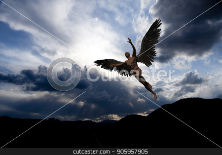 Angel stock photo, Naked man with white wings in cloudy sky symbolizes angel. by Bruce Rolff
