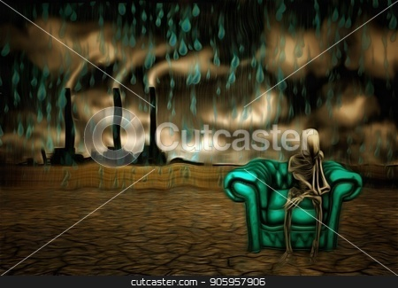 Thinker stock photo, Surrealism. Alien skeleton sits in armchair in arid land. Factory at the horizon.  by Bruce Rolff