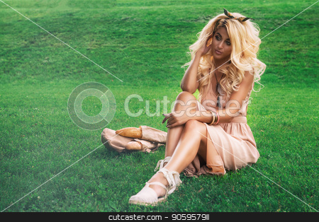 eauty blonde alone young woman resting in the park stock photo, Rest in park, outdoor, people and leisure concept - beauty blonde alone young woman resting in the park by olinchuk