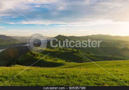 Beauty dawn in the mountains stock photo, Beauty dawn on the peak, in the mountains in Altay by olinchuk