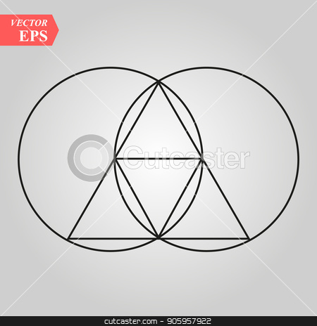 Sacred geometry - zen minimalism - vesca piscis -pointed oval figure used as an architectural feature and as an aureole enclosing figures such as Christ or the Virgin Mary in medieval art. stock vector clipart, Sacred geometry - zen minimalism - vesca piscis -pointed oval figure used as an architectural feature and as an aureole enclosing figures such as Christ or the Virgin Mary in medieval art. eps 10 by elnurbabayev