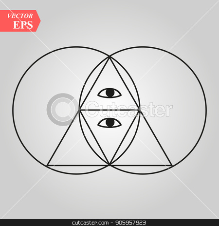 Sacred geometry pyramid with the eye,- vesca piscis -pointed oval figure used as an architectural feature and as an aureole enclosing figures such as Christ or the Virgin Mary in medieval art. stock vector clipart, Sacred geometry pyramid with the eye,- vesca piscis -pointed oval figure used as an architectural feature and as an aureole enclosing figures such as Christ or the Virgin Mary in medieval art. eps10 by elnurbabayev