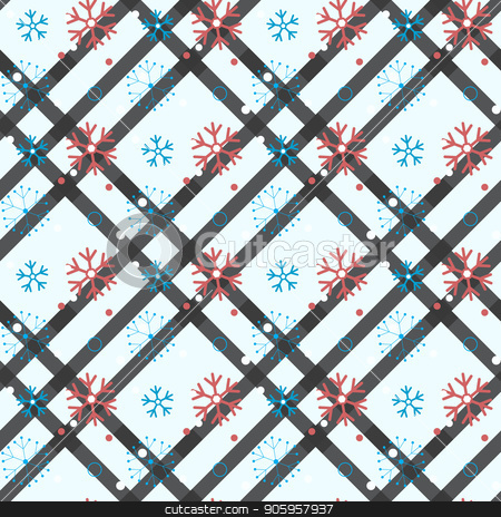 Seamless pattern of snowflakes and dots, blue on white eps 10 stock vector clipart, Seamless pattern of snowflakes and dots, blue on white eps10 by elnurbabayev