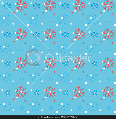 Red snowflakes on a blue background. Snowflake vector pattern. stock vector clipart, Red snowflakes on a blue background. Snowflake vector pattern. eps 10 by elnurbabayev