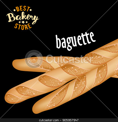 French baguettes vector. Baked bread product. stock vector clipart, French baguettes vector. Baked bread product vector by MarySan