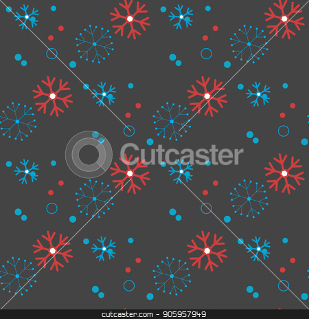 Red and blue seamless Christmas pattern with different snowflakes falling stock vector clipart, Red and blue seamless Christmas pattern with different snowflakes falling eps10 by elnurbabayev