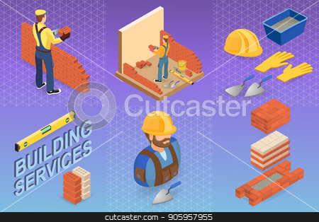 Home repair isometric template. Builder with tools. stock vector clipart, Isometric interior repairs concept. Builder with tools and materials near the brick wall. Bricklayer in uniform holds a brick and spatula. Worker builds a brick wall. Vector flat  illustration. by VeYe