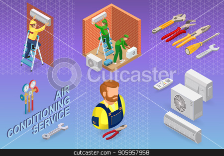 Isometric interior repairs concept. System of air conditioning. stock vector clipart, Home repair isometric template. The worker is standing on ladder and is attaching conditioner on a brick wall. Two workers are installing a system of air conditioning. Vector flat 3d illustration. by VeYe