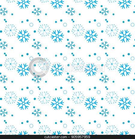 Seamless pattern of snowflakes and dots, blue on white stock vector clipart, Seamless pattern of snowflakes and dots, blue on white eps 10 by elnurbabayev
