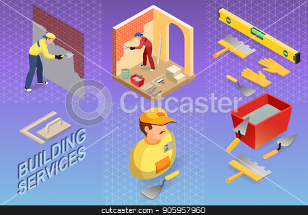 Isometric interior repairs concept. Builder is plastering. stock vector clipart, Isometric interior repairs concept. Builder is plastering the brick wall. Plasterer in uniform holds a  spatula. Worker, tools and fragment of interior with arch. Vector flat 3d illustration. by VeYe