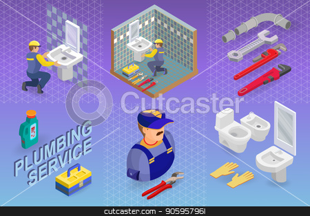 Isometric interior repairs concept. The Plumber. stock vector clipart, Isometric interior repairs concept. Plumber is installing washbasin in a bathroom with a blue tile. Builder in uniform holds a sink. Worker and tools. Vector flat illustration. by VeYe
