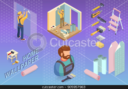 Isometric interior repairs concept. Builder pastes the wall stock vector clipart, Isometric interior repairs concept. Builder pastes the wall with paper. Worker in uniform is wallpapering walls. Decorator, tools. Vector flat 3d illustration. by VeYe