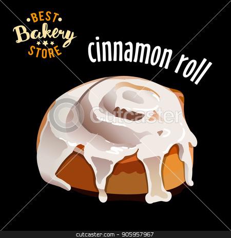 Glazed cinnamon roll isolated on black background vector illustration stock vector clipart, Glazed cinnamon roll isolated on black background vector illustration. by MarySan