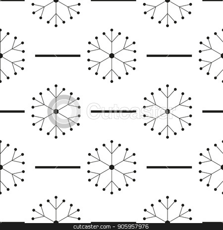 Black snowflakes seamless pattern on white Christmas background. stock vector clipart, Black snowflakes seamless pattern on white Christmas background. eps 10 by elnurbabayev