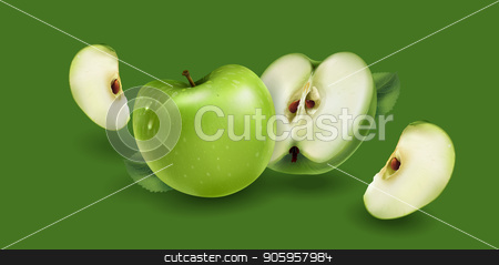 Green apples on a green background stock vector clipart, Realistic green apples on a green background. by ConceptCafe
