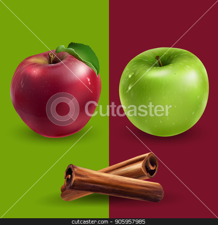 Cinnamon, green and red apples stock vector clipart, Cinnamon, green and red apples on a background. by ConceptCafe