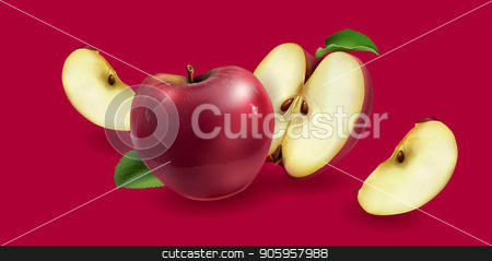 Red apples on a background stock vector clipart, Realistic red apples on a red background. by ConceptCafe