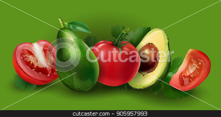 Avocado and tomato stock vector clipart, Avocado and tomato slices on a green background. by ConceptCafe