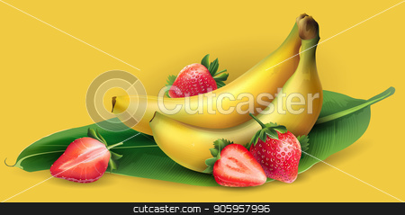 Banana and strawberry stock vector clipart, Delicious banana and strawberry on a yellow background. by ConceptCafe