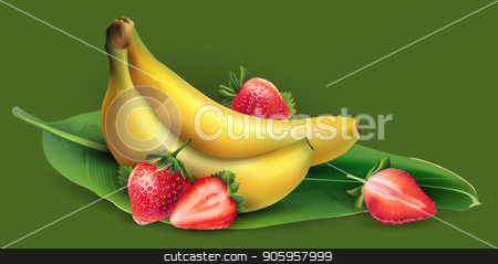 Banana and strawberry stock vector clipart, Delicious banana and strawberry on a green background. by ConceptCafe