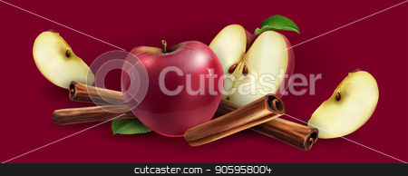 Cinnamon and red apples stock vector clipart, Cinnamon and red apples on a red background. by ConceptCafe
