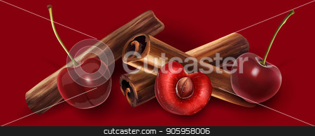 Cinnamon and cherry stock vector clipart, Cinnamon and cherry on a dark red background. by ConceptCafe