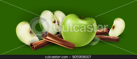 Cinnamon and green apples stock vector clipart, Cinnamon and green apples on a green background. by ConceptCafe