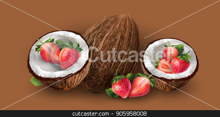 Coconut and strawberry stock vector clipart, Realistic coconut and strawberry on a chocolate background. by ConceptCafe