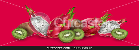 Dragon fruit and kiwi stock vector clipart, Dragon fruit and kiwi on bright red background. by ConceptCafe
