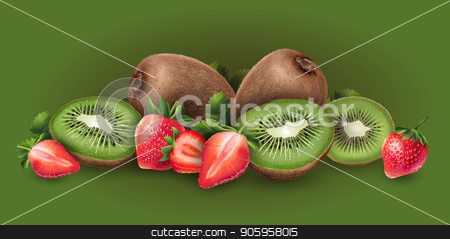 Strawberry and kiwi stock vector clipart, Strawberry and kiwi on green background. by ConceptCafe