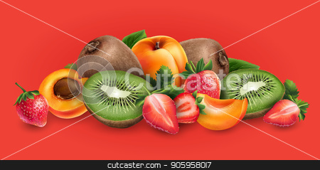Apricot, strawberry and kiwi stock vector clipart, Apricot, strawberry and kiwi on a red background. by ConceptCafe
