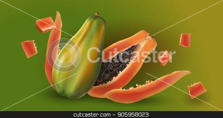 Papaya on green background stock vector clipart, Papaya or pawpaw slices on green background. by ConceptCafe
