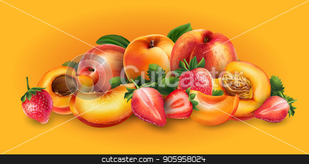 Apricot, peach and strawberry stock vector clipart, Apricot, peach and strawberry and cut slices on a bright orange background. by ConceptCafe