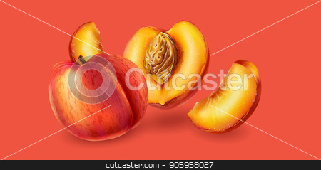Peach on pink background stock vector clipart, Realistic peach and slices on pink background. by ConceptCafe