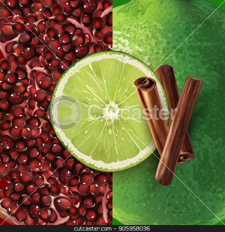 Pomegranate, cinnamon and lime stock vector clipart, Pomegranate grain, cinnamon and lime on a background. by ConceptCafe