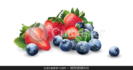 Blueberries and strawberries stock vector clipart, Blueberries and strawberries on a white background. by ConceptCafe