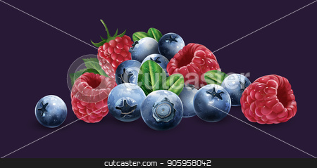 Raspberries, blueberries and strawberries stock vector clipart, Raspberries, blueberries and strawberries on a blue background. by ConceptCafe