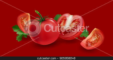 Tomatoes on a red background stock vector clipart, Realistic fresh tomatoes on a red background. by ConceptCafe