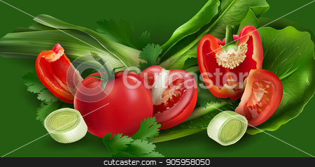Tomatoes, pepper, onions and lettuce stock vector clipart, Tomatoes, peppers, onions and lettuce on green background. by ConceptCafe