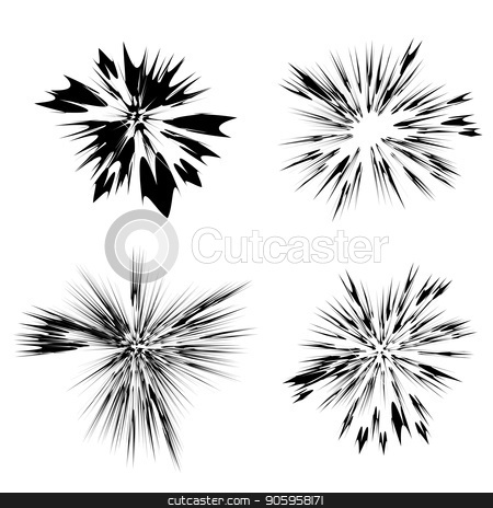 Explode Flash, Cartoon Explosion, Star Burst on White Background stock vector clipart, Explode Flash, Cartoon Explosion, Star Burst Isolated on White Background by valeo5