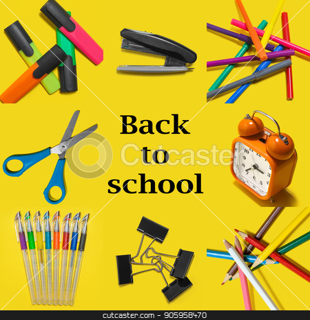 Back to school equipment stock photo, Back to school design with school items and suplies on a yellow background. mockup for Instagram. Top view by Oleh